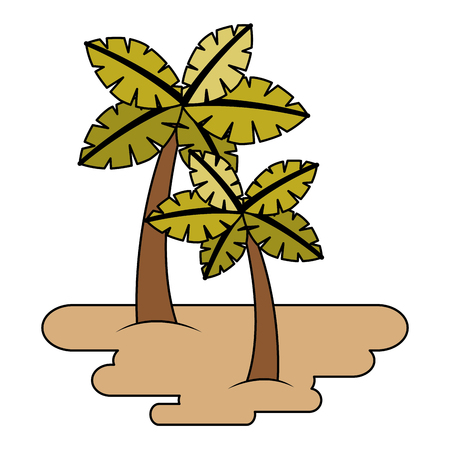two palm trees on sand tropical plant vector illustration