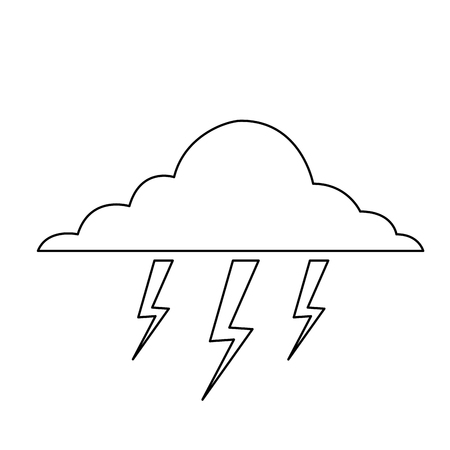 cloud lightning bolt storm natural climate vector illustration