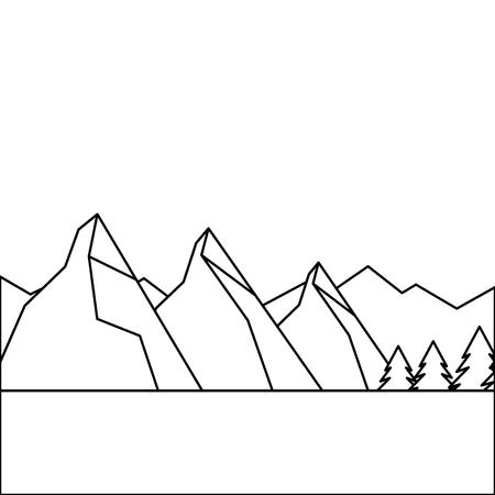 landscape natural peak mountains snow tree pine water vector illustration