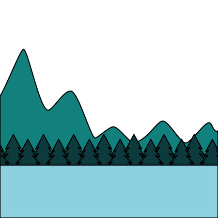 나무 소나무 숲 풍경과 자연 산 벡터 일러스트 레이 션 일러스트