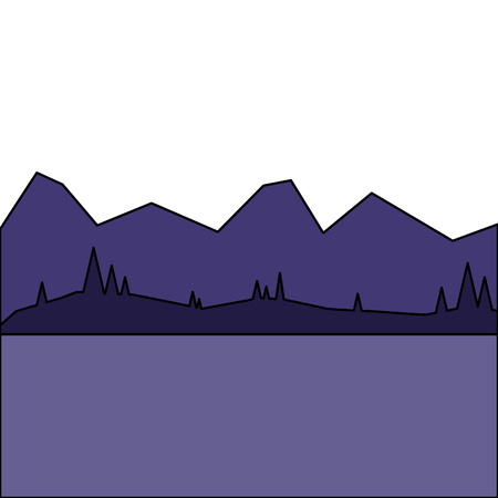 landscape with mountains and forest at night vector illustration Çizim