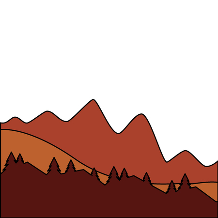 mountain and pine tree sunset or sunrise view vector illustration