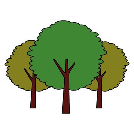 green three tree plant botanical natural vector illustration