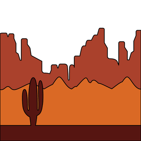 desert landscape with cactus and mountains vector illustration Фото со стока - 90800788