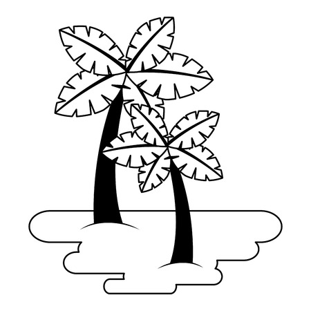 두 야자 나무 모래 열 대 식물 벡터 일러스트 레이 션