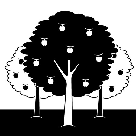 three apple trees bush foliage fruit natural vector illustration