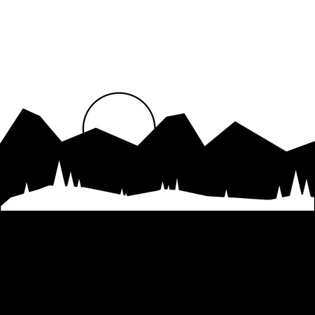 landscape with mountains and forest at night vector illustration Illustration
