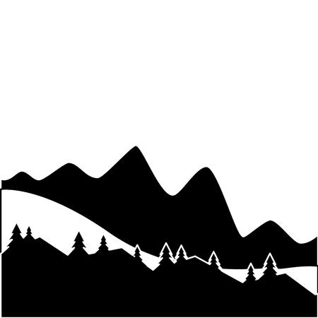 berg en dennenboom zonsondergang of zonsopgang bekijken vectorillustratie Stock Illustratie