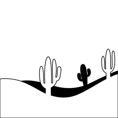 landscape desert with cactus plant sand vector illustration Иллюстрация