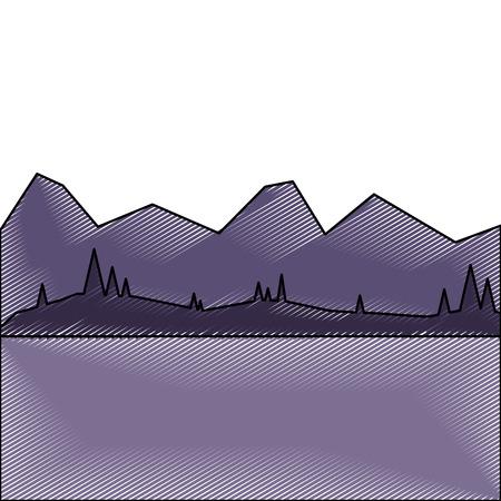 夜ベクトルイラスト描画で山や森と風景  イラスト・ベクター素材
