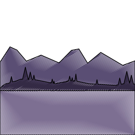 landscape with mountains and forest at night vector illustration drawing