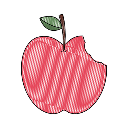 red apple with green leaf and bite food vector illustration drawing Ilustrace