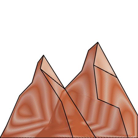 2つの山の自然植物の土地の場面ベクトル図描き下ろし