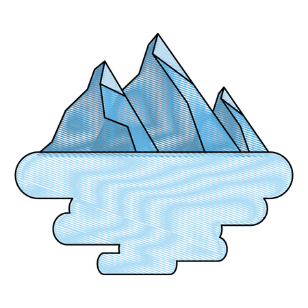 peak mountain snow landscape land scene vector illustration drawing