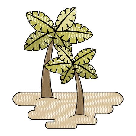 두 야자 나무에 모래 열 대 식물 벡터 일러스트 그리기