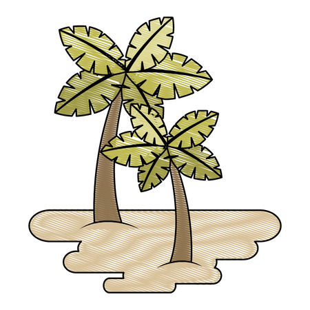 two palm trees on sand tropical plant vector illustration drawing Illustration