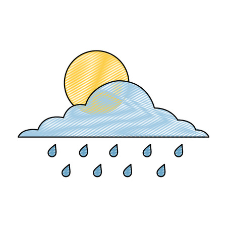cloud sun and drops rain weather sky vector illustration drawing