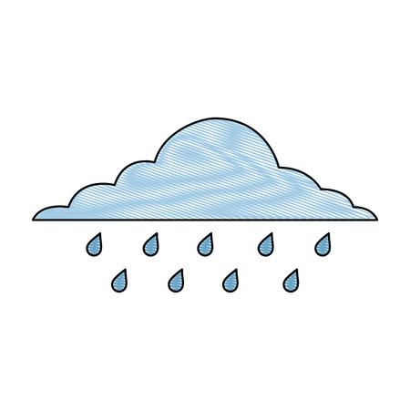 wolk regenachtige hemel voorspelling storm geïsoleerde pictogram vector illustratie tekening
