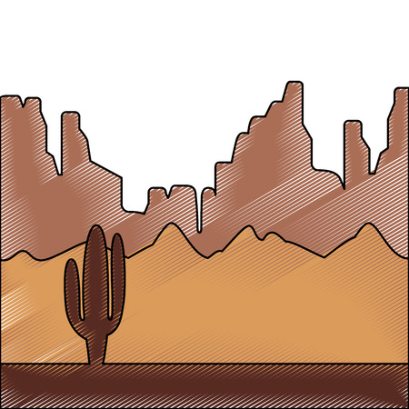 desert landscape with cactus and mountains vector illustration drawing