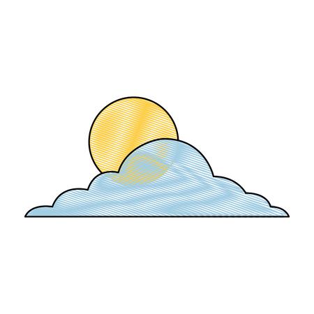 태양 구름 하루 하늘 자연 기후 벡터 그림 그리기