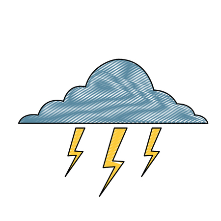cloud lightning bolt storm natural climate vector illustration drawing Ilustração