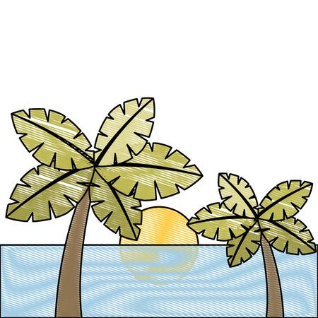 tropische twee palmbomen en zon oceaan paradijs vector illustratie tekening