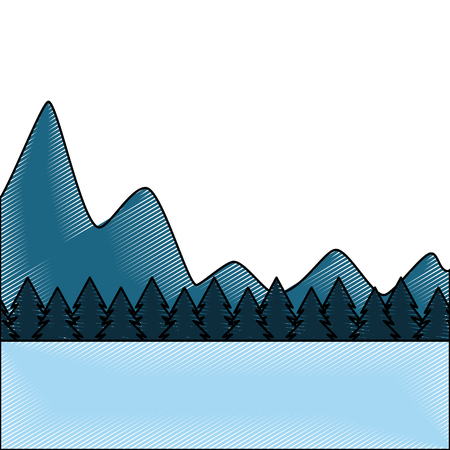 natural mountains with tree pines forest landscape vector illustration drawing Illustration