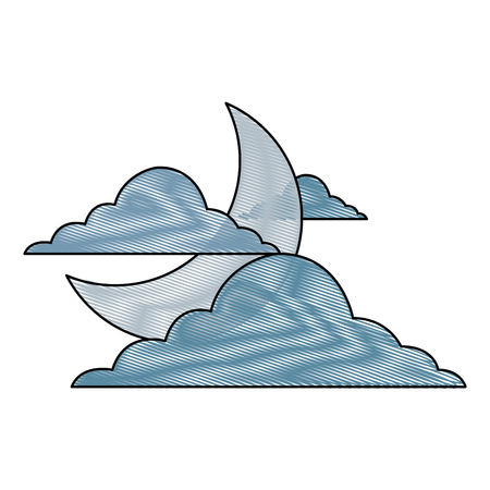 sky night cloud half moon nature weather vector illustration drawing