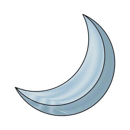 half moon night celestial natural image vector illustration drawing Illustration