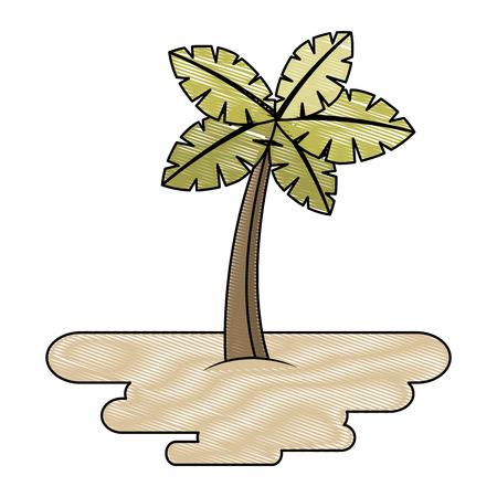 Palm tree on island 向量圖像