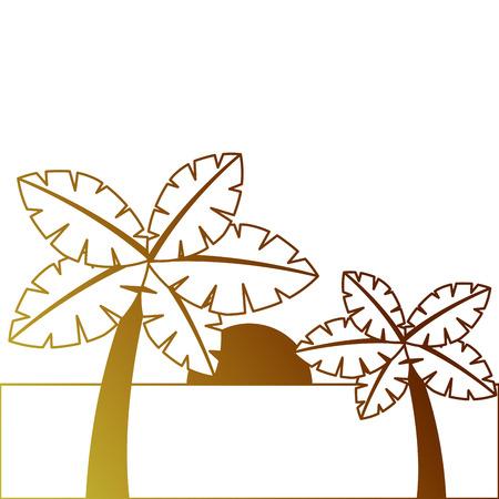 Tropische twee palmbomen