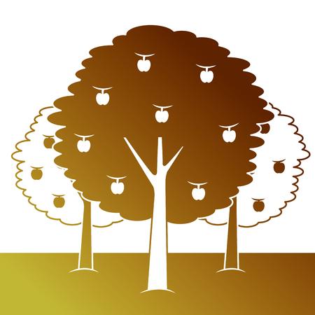 과일 베어링 나무 일러스트