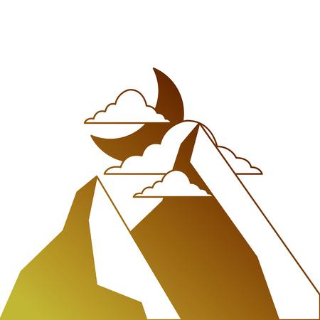 山の風景の夜  イラスト・ベクター素材