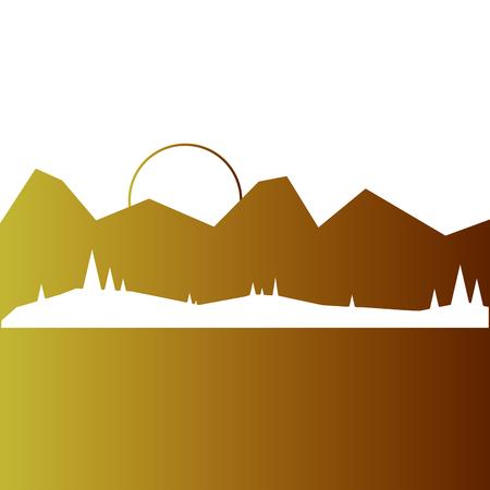 山の太陽の森と風景