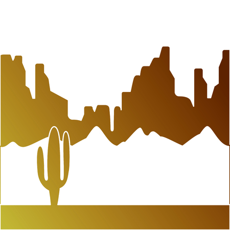 サボテンと山々の砂漠の風景