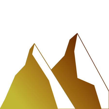 2つの山の自然の土地のシーン  イラスト・ベクター素材
