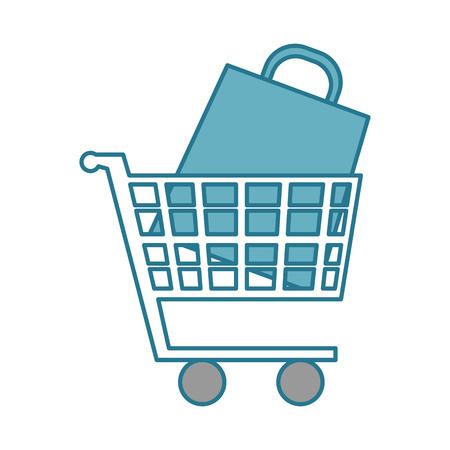 shopping cart with paper bag vector illustration design Illustration