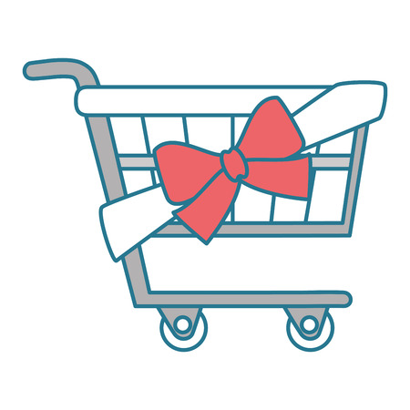 shopping cart with ribbon vector illustration design Illustration