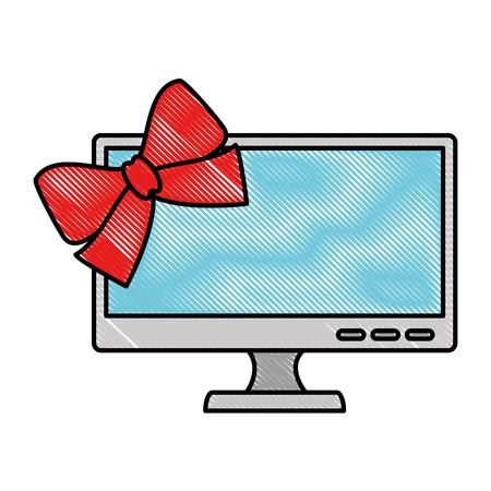 Monitor computer met bowntie vector illustratie ontwerp Stockfoto - 90813949