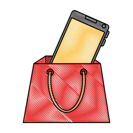 shopping bag with smartphone vector illustration design