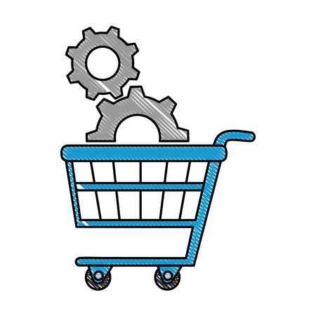 shopping cart with gears vector illustration design Illustration