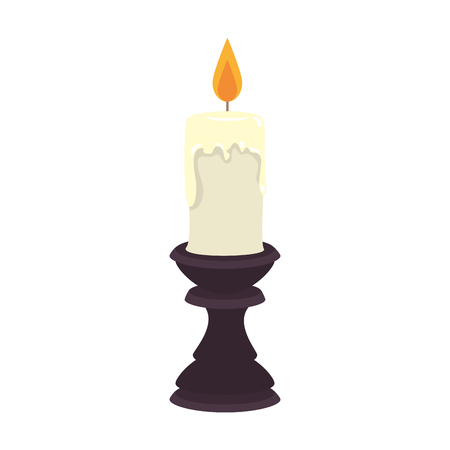 paraffin candle in candlestick vector illustration design