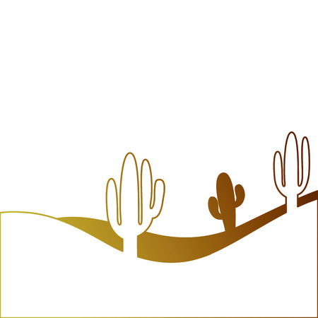 landscape desert with cactus plant sand vector illustration Иллюстрация