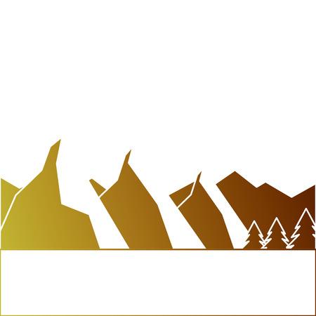 풍경, 자연, 산, 눈, 나무, 소나무, 벡터, 일러스트 레이션, 일러스트