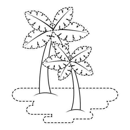 two palm trees on sand tropical plant vector illustration sticker Illustration