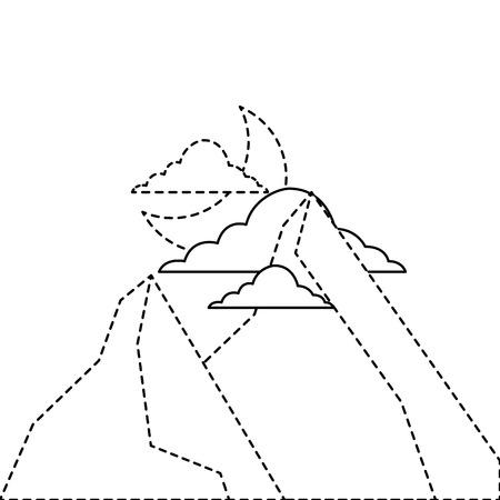 산에서 밤 달과 구름 자연 풍경 벡터 일러스트 레이 션 스티커