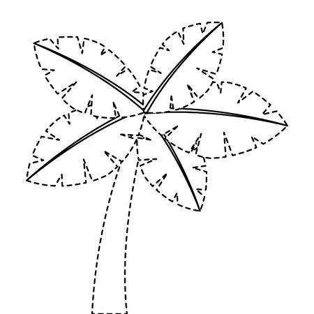 tropische palmboom exotische plant kofferbak natuur vector illustratie sticker Stock Illustratie