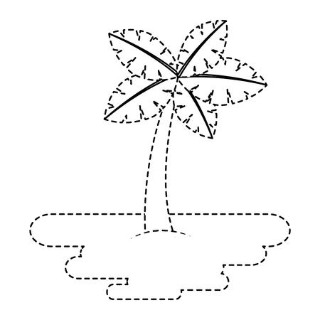 砂島植物植物ベクトルイラストステッカー上の熱帯ヤシの木