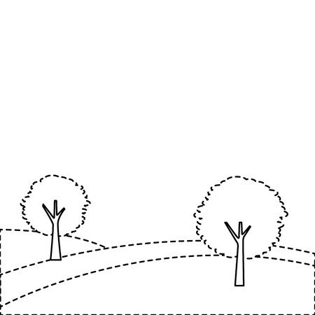 landscape with two trees on the hill vector illustration sticker