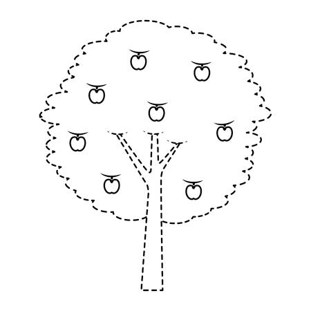果実りんご木農業自然植物ベクトルイラストステッカー  イラスト・ベクター素材